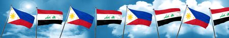 iraq flag: Philippines flag with Iraq flag, 3D rendering