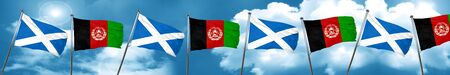 afghan: scotland flag with afghanistan flag, 3D rendering Stock Photo