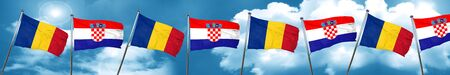 Romania flag with Croatia flag, 3D rendering