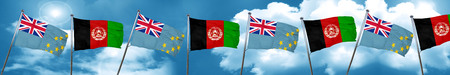 Tuvalu flag with afghanistan flag, 3D rendering Stock Photo