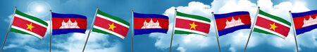 cambodian: Suriname flag with Cambodia flag, 3D rendering