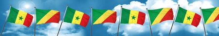 Senegal flag with congo flag, 3D rendering