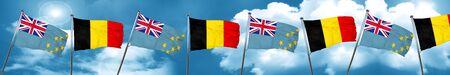 tuvalu: Tuvalu flag with Belgium flag, 3D rendering Stock Photo