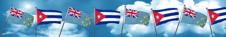cuban culture: Tuvalu flag with cuba flag, 3D rendering