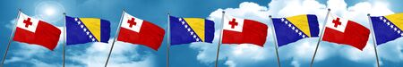 Tonga flag with Bosnia and Herzegovina flag, 3D rendering Stock Photo