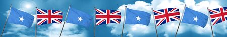 Somalia flag with Great Britain flag, 3D rendering