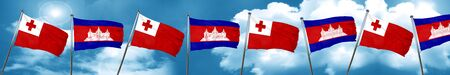 cambodian: Tonga flag with Cambodia flag, 3D rendering