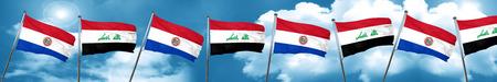bandera de paraguay: Paraguay flag with Iraq flag, 3D rendering Foto de archivo