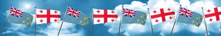 tuvalu: Tuvalu flag with Georgia flag, 3D rendering Stock Photo