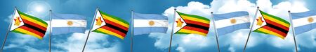 Zimbabwe flag with Argentine flag, 3D rendering