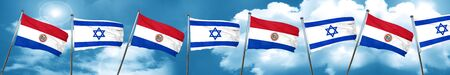 bandera de paraguay: Bandera de Paraguay con la bandera de Israel, representación 3D