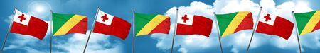tonga: Tonga flag with congo flag, 3D rendering Stock Photo