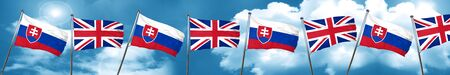 combines: Slovakia flag with Great Britain flag, 3D rendering