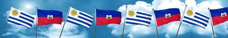 bandera de uruguay: Bandera de Uruguay con la bandera de Haití, representación 3D