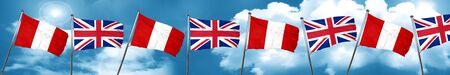 bandera de peru: bandera de Perú con la bandera de Gran Bretaña, 3D