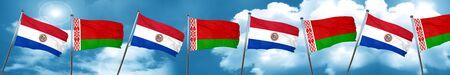 bandera de paraguay: Paraguay flag with Belarus flag, 3D rendering