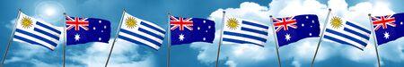 bandera de uruguay: Bandera de Uruguay con la bandera de Australia, 3D
