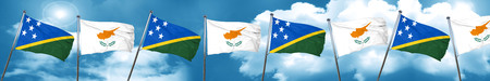 Solomon islands flag with Cyprus flag, 3D rendering Stock Photo