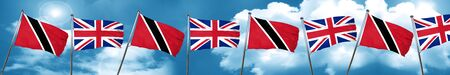 Trinidad and tobago flag with Great Britain flag, 3D rendering