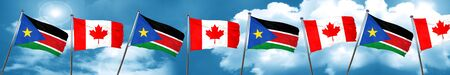 south sudan flag with Canada flag, 3D rendering