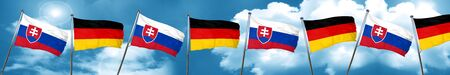 Slovakia flag with Germany flag, 3D rendering Stock Photo