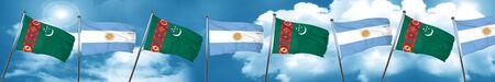 Turkmenistan flag with Argentine flag, 3D rendering Stock Photo