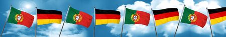 portugese: Portugal flag with Germany flag, 3D rendering