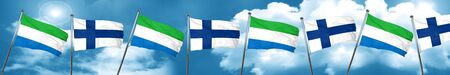finnish: Sierra Leone flag with Finland flag, 3D rendering