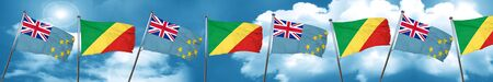 tuvalu: Tuvalu flag with congo flag, 3D rendering