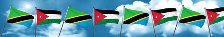 Tanzanian flag with Jordan flag, 3D rendering