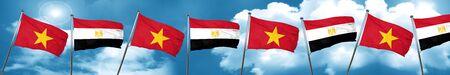 bandera de egipto: Bandera de Vietnam con bandera de Egipto, representación 3D