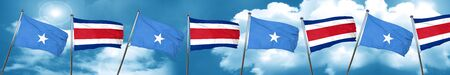Somalia flag with Costa Rica flag, 3D rendering Stock Photo