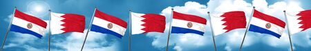 bandera de paraguay: Paraguay flag with Bahrain flag, 3D rendering