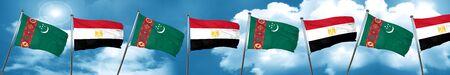Turkmenistan flag with egypt flag, 3D rendering