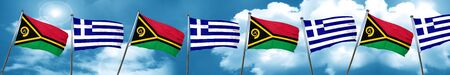 Vanatu flag with Greece flag, 3D rendering Stock Photo