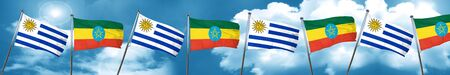 bandera de uruguay: Bandera de Uruguay con la bandera de Etiopía, 3D