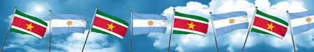 Suriname flag with Argentine flag, 3D rendering