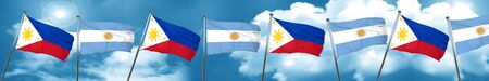 philippino: Philippines flag with Argentine flag, 3D rendering