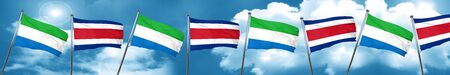 Sierra Leone flag with Costa Rica flag, 3D rendering