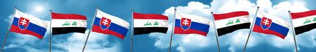 Slovakia flag with Iraq flag, 3D rendering