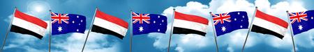 yemen: Yemen flag with Australia flag, 3D rendering