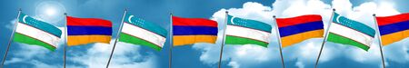 armenia: Uzbekistan flag with Armenia flag, 3D rendering