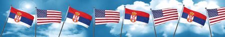 Serbia flag with American flag, 3D rendering