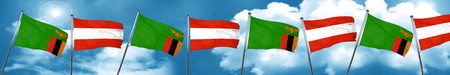 Zambia flag with Austria flag, 3D rendering