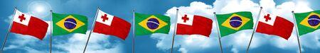 tonga: Tonga flag with Brazil flag, 3D rendering Stock Photo