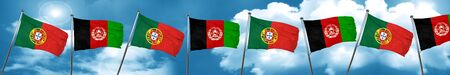 Portugal flag with afghanistan flag, 3D rendering Stock Photo