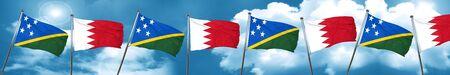 solomon: Solomon islands flag with Bahrain flag, 3D rendering Stock Photo