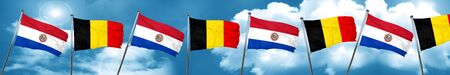 Paraguay flag with Belgium flag, 3D rendering Stock Photo