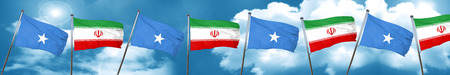 Somalia flag with Iran flag, 3D rendering Stock Photo