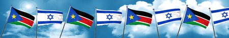 south sudan flag with Israel flag, 3D rendering